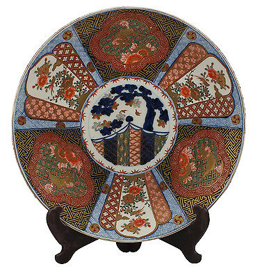 Signed Japanese Meiji Period Imari Charger w/ Foo Dogs and Flowers