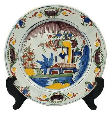 Wonderful & Deep 18th C Polychrome Painted Delft Charger