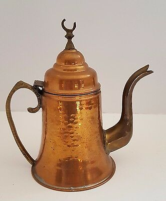 Moroccan Coffee Pot Hammered Copper Brass Accents