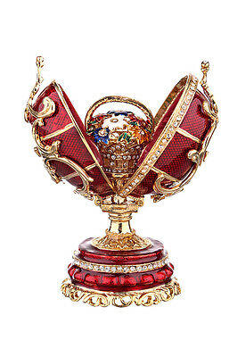Decorative Faberge Egg with Basket of Flowers 3.2'' (8 cm) red