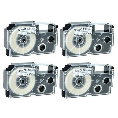 """4PK XR-12X Black on Clear Label Tape for Casio KL-60 100 7000 8200 8800 1/2"""""""