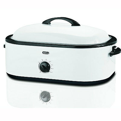 Oster 18-Quart Counter-Top Electric Roaster Oven with Buffet Tray Server, White