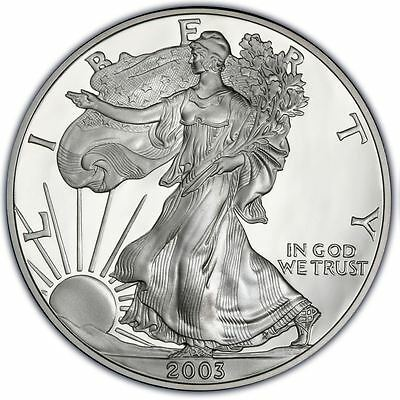 2003 US Mint $1 American Silver Eagle 1 oz Silver Coin Direct From Mint Tube