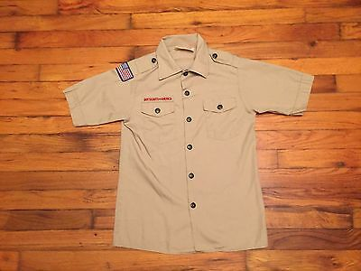 Vintage Boy Scouts Of America Shirt Button Down Official Polyester 80s Punk rock