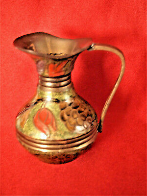 Vtg  Brass Enamel Cloisonne Champleve Small Pitcher Vase 4'' Tall made in India