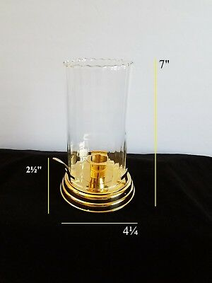 """Vintage Style Brass Finger Base Candle Lamp with Glass Cover Light Decor 7"""""""