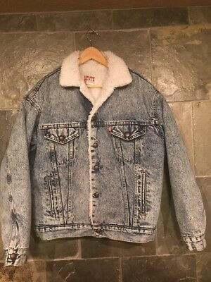 Vintage Levis Sherpa Jacket Jean Size M Thick And Warm