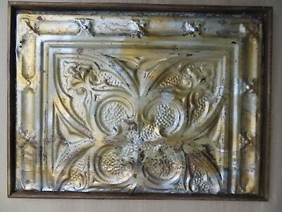 ANTIQUE TIN CEILING TILE RECLAIMED Shabby Chic WALL DECOR PANEL WOOD FRAMED-3
