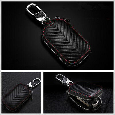 Car Key Chain Bag Genuine Leather Smart Key Holder Cover Remote Fob Zipper Case