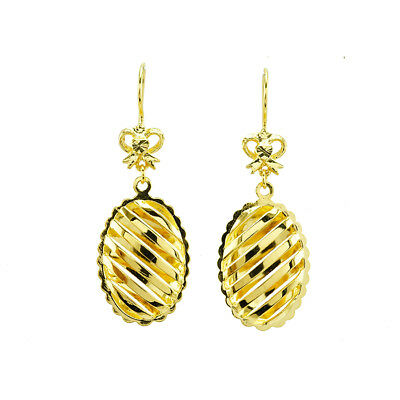 Pair Earings Yellow Gold Plated Hook Nice Shinny Oriental Sparkle Gp Qc Export