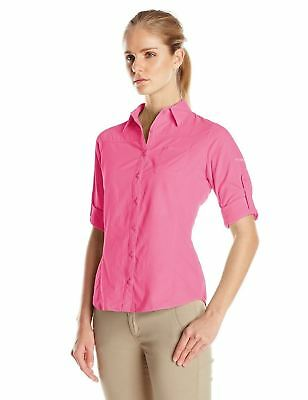 New Columbia Women's East Ridge Long Sleeve Roll Tab-Sleeve Shirt X-Large Pink