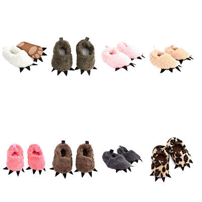 Newborn Baby Kids Plush Animal Paw Sole Boots Toddler Moccasin Crib Walk Shoes