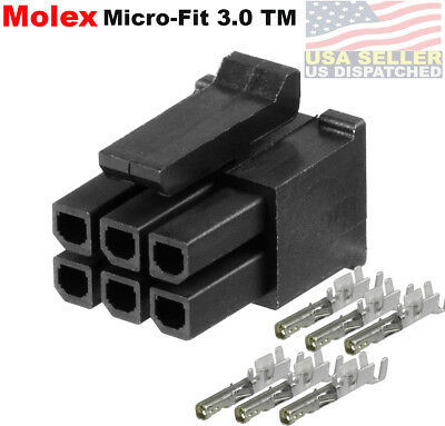 Molex dual row (6 Circuits) female receptacle w/Terminal sockets, Micro-Fit 3.0™