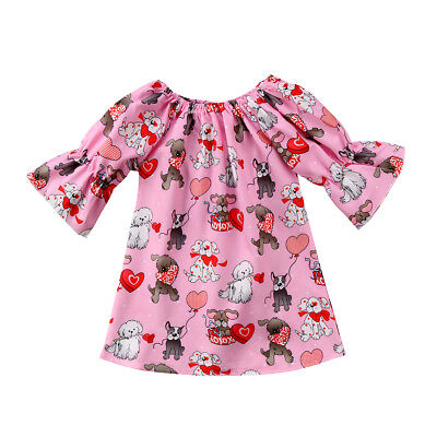 Cute Dog Infant Toddler Baby Girl Kids Clothes Long Sleeve Party Tops Dress New