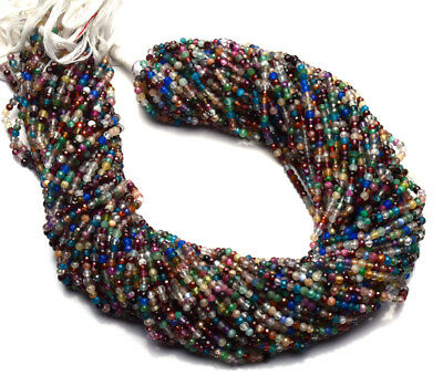 """Natural Mix Gemstones 3MM Micro Faceted Rondelle Beads 13"""" Strand"""