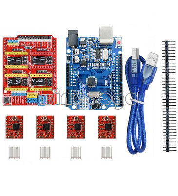 CNC Shield V3.0+ UNO R3 Board + A4988 Driver + Heatsink Kits for Arduino