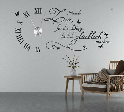 wandtattoo uhr mit uhrwerk wanduhr wohnzimmer ornamente. Black Bedroom Furniture Sets. Home Design Ideas