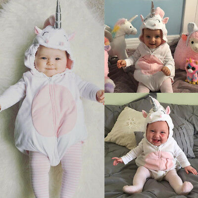 Unicorn Costume Newborn Baby Kids Girl Romper Fleece Jumpsuit Outfits One-pieces