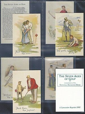 Lancaster Reprinted-Full Set- The Seven Ages Of Golf (X9 Cards) - Exc+++