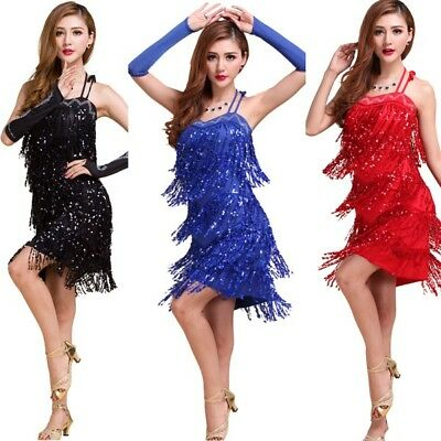 Women Tassel Halterneck Dance Dress Latin Cha Cha Dance Mini Bodycon Dress Sexy