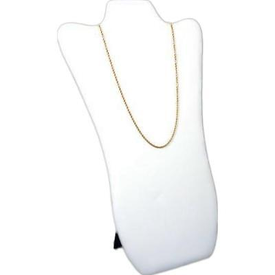 """White Faux Leather Necklace Pendant Jewelry Display Bust 8 5/8"""" x 14 1/8"""""""