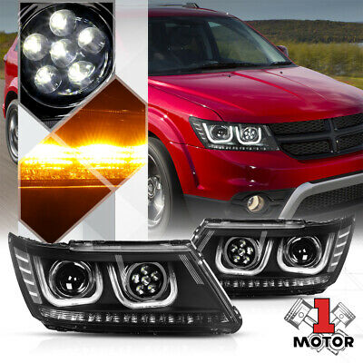 FOR 1994-2002 DODGE RAM CHROME AMBER PROJECTOR HEADLIGHTS SET DUAL HALO+LED DRL
