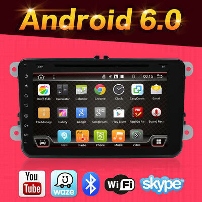 Car Stereo Andriod6.0 Bluetooth GPS Nav Double Din For Seat VW Skoda Golf Passat