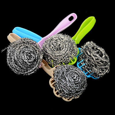Stainless Steel Wool Ball Brush With Long Handle Kitchen Hanging Strong Cleaning