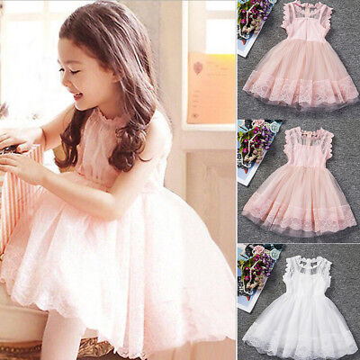 Flower Girl Princess Bridesmaid Pageant Lace Tutu Tulle Gown Party Wedding Dress
