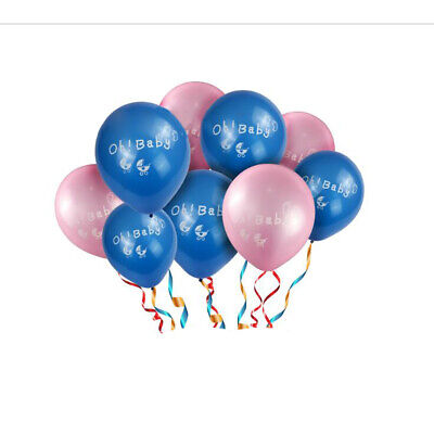 10pcs Oh Baby Latex Balloons Baby Carriage Printed Baby Shower Christening Decor