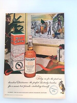 Old Crow Whiskey Vintage Christmas Magazine Ad