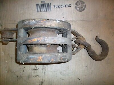 Vintage Wood Barn/Boat Pulley/Pully With Small Hook.