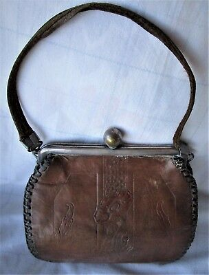 Vintage Arts and Craft Mission Deco Tooled Leather Purse