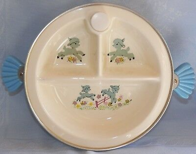 Vintage Majestic Child's Divided Warming Food Dish Blue Handles & Blue Lambs