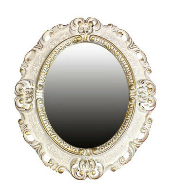 Wall Mirror White Gold Oval 45x38 cm Baroque Antique Repro Vintage 345 12 *