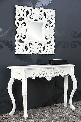 Wall Mirror + Console Table Set White Antique Finish Luxurious Magnificently