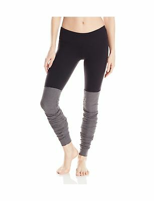 Alo Yoga Women's Goddess Ribbed Legging Black/Stormy Heather Small