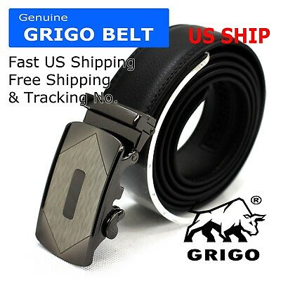 Mens Automatic Click Lock Buckle Waist Strap Dress Comfort Leather Belt Casual
