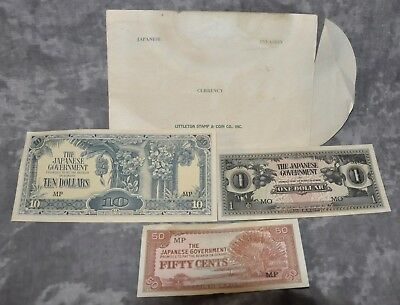Japanese Invasion Currency (3) Notes w/ Envelope Littleton Stamp & Coin, Inc.