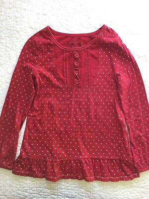 Faded Glory Girls Top Shirt Long Sleeve Red Sparkle size 7 EUC