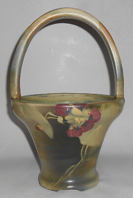 Early Weller Art Pottery Copra Large Floral Decorated Basket