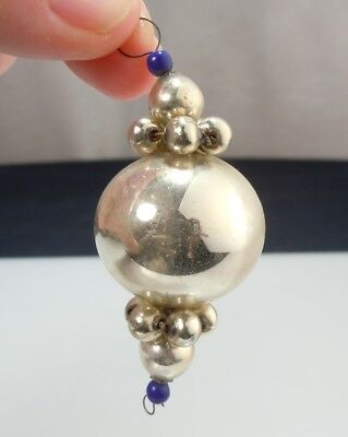 Antique Vintage Christmas Ornament- Silver Beaded Ball -Blown Mercury Glass 235