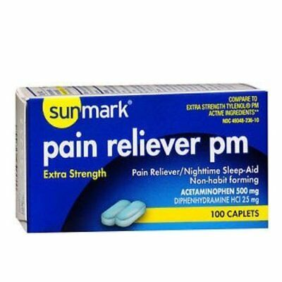 Sunmark Extra Strength Pain Reliever, PM Caplets, 100 Count