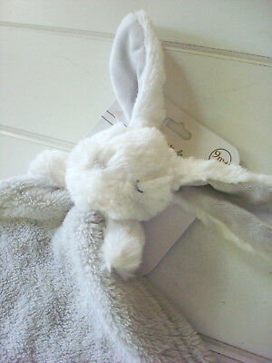 Blankets & Beyond Security Blanket Sleepy Bunny White Gray Baby Lovey Dou NuNu