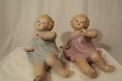 Baby Doll Ceramic figurines_Matching Pair_ Pink and Blue Hand Painted