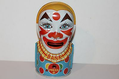 BEAUTIFUL VINTAGE 1930's TIN LITHO  J. CHEIN #27 CLOWN BANK signed by GENE BOSCH