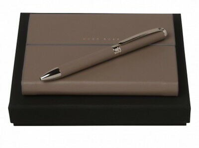 Hugo Boss Taupe Leather A6 Notebook & Ballpoint Pen Set - New - HNM606 - 50% Off