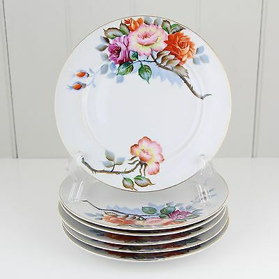 Set of 6 - Yamada China Dessert Plates Hand Painted Japan Floral Flowers Roses