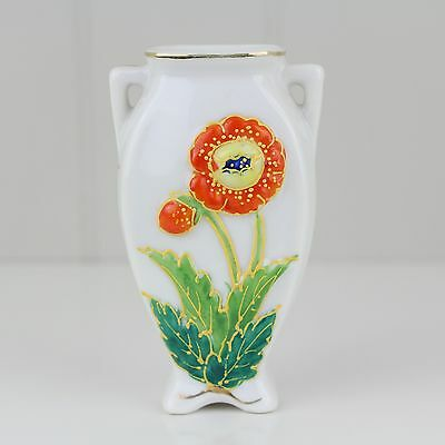 Occupied Japan Embossed Hand-Painted Orange Flower Porcelain Small Vase Floral