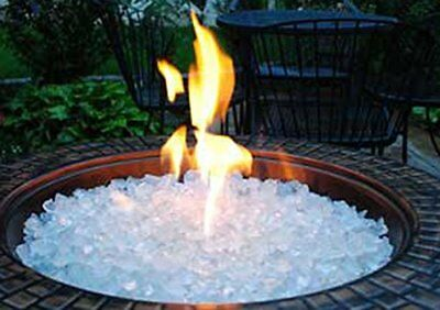 Crystals Glass Rocks 10 lbs Fire Pit White Ice For Outdoor Fireplace  Practical - 10 LBS FIRE Pit Glass Rocks For Outdoor Fireplace White Ice Crystals